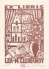 Ex-libris. Lot de 5. Léa-M Geerlandt (propriétaire) ; Jean Lébédeff (artiste), Ex-libris.