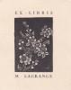 Ex-libris.. Marie Lagrange (propriétaire) ; André Herry (artiste), Ex-libris.