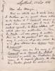 Lettre autographe signée à Arthur Mangin. Charles Grad (1842-1890), homme politique, écrivain scientifique.
