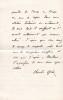 Lettre autographe signée à madame Arthur Mangin. Charles Grad (1842-1890), homme politique, écrivain scientifique.