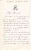 Lettre autographe signée à Arthur Mangin. Jules Siegfried (1837-1922), homme politique, entrepreneur.