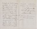 Lettre autographe signée à Arthur Mangin. Louis Simonin (1830-1886), ingénieur, explorateur, géologue, homme politique.