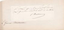 Lettre autographe signée. Charles-François-Xavier d'Autemarre d'Erville (1805-1891), militaire, général.