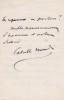 Lettre autographe signée à Paul Meurice. Catulle Mendès (1841-1909), écrivain, poète.