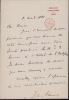 Lettre autographe signée. Francis O. Adams (XIXe), anglais, secrétaire d'ambassade à Paris, ambassadeur en Suisse de 1881 à 1888.