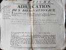 Placard pour la vente de biens nationaux en 1791 à Chazelle (Aubiat) dans le Puy-de-Dôme.. [Auvergne, Puy-de-Dôme, Riom, Aigueperse, Chazelle],