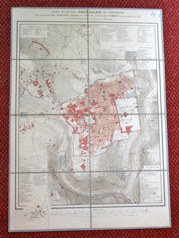 Plan des heutigen Jerusalem mit Umgebung. Nach W. Wilson's Aufnahme von 1864-65 und C. Schick's Ergänzungen bis 1879.. ZIMMERMANN Carl; SOCIN ...