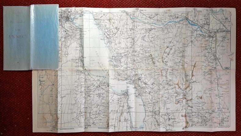 Carte topographique du Lac d'Annecy et de ses environs. Massifs de la Tourette, les Dents d'Ales, du Mont de Veyrier et du Semnoz. Vallées de Thones, ...