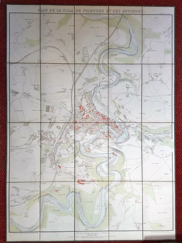 Plan de la ville de Fribourg et des environs.. AEBY: