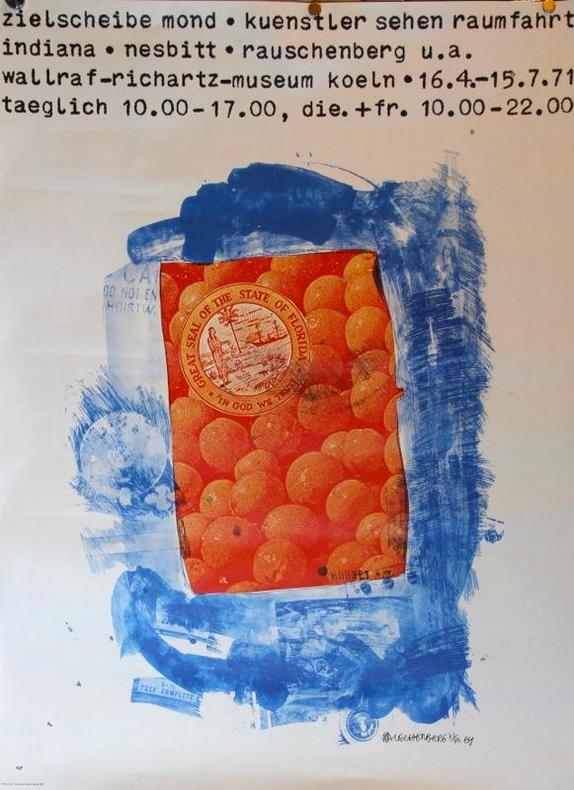 Zielscheibe mon. Kuenstler sehen Raumfahrt Indiana. Nesbitt. Rauschenberg u.a. Wallraf-Richartz-Museum, Koeln 1971.. RAUSCHENBERG: