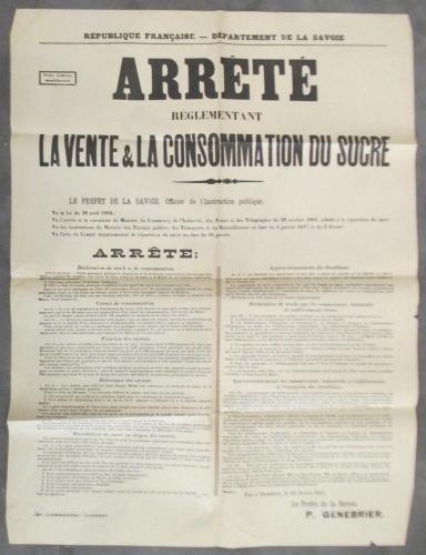 ARRETE réglementant LA VENTE & LA CONSOMMATION DU SUCRE. Le préfet de Savoie P. Genebrier.