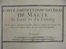 CARTE PARTICULIERE DES ISLES DE MALTE du GOZE et du CUMING. 1781. B. Antoine Jaillot