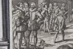 Gravure de la série l'Instruction au roi, en l'exercice de monter à cheval.. Antoine de Plunivel (1552-1620)