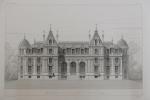 Moniteur des Architectes : Château de Neuflize appartenant à M.M Paté frères : Façade sur le parc.. Imprimerie Lemercier