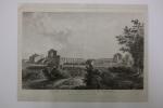 Vue des ruines de l'amphithéâtre de Bordeaux vulgairement appelé palais Gallien  . D'Aubigny   (dessin) Allix  (gravure)