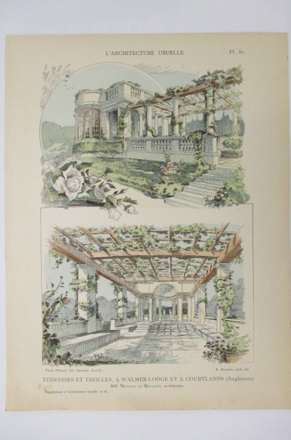L'ARCHITECTURE USUELLE. TERRASSES ET TREILLES A WALMER-LODGE et a COURTLANDS (Angleterre).. Thézard / Rivoalen / Mawson / Mallows