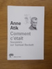 COMMENT C'ETAIT. Souvenirs sur Samuel Beckett.. Anne Atik
