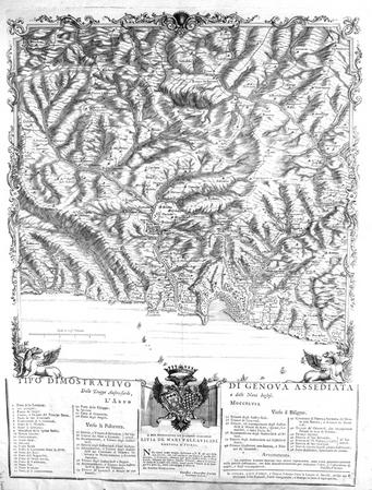 [GENES] Tipo dimostrativo di Genova assediata dalle truppe austro-sarde, e dalle navi inglesi. L'Anno MDCCXLVII.. VINZONI (Panfilio);GRAVIER ...