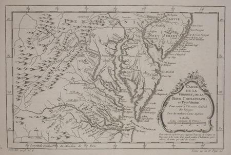 Carte de la Virginie, de la baye Chesapeack, et pays voisins.. BELLIN (Jacques-Nicolas);
