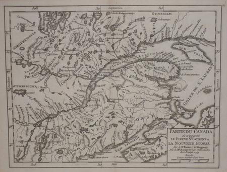 Partie du Canada où se trouvent le fleuve St. Laurent et la Nouvelle Ecosse.. ROBERT de VAUGONDY (Didier);