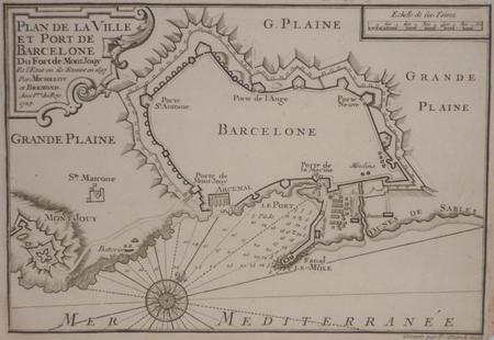 [BARCELONE] Plan de la ville et port de Barcelone du fort de Mont Jouy.. MICHELOT & BREMOND;