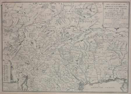 [TRENTO] Les éveschés de Trente et de Brixen, le comté de Tirol et les états de la République de Venise dans le fond du golfe.. FER (Nicolas de);