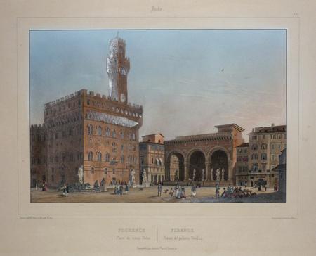 Florence. Place du Vieux Palais - Firenze. Piazza del Palazzo Vecchio.. DEROY (Isidore);