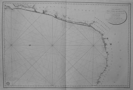 [PAYS BASQUE] Carte réduite des côtes de France, depuis le bassin d'Arcachon jusqu'à Fontarabie, et d'Espagne jusqu'au cap Machichaco.. DEPOT-GENERAL ...