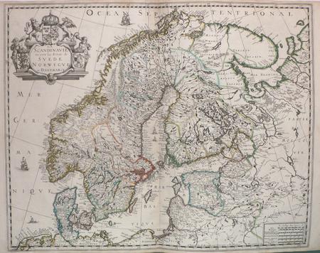 La Scandinavie où sont les estats de Suède, Norwègue et Danemarck.. SANSON d'ABBEVILLE (Nicolas);