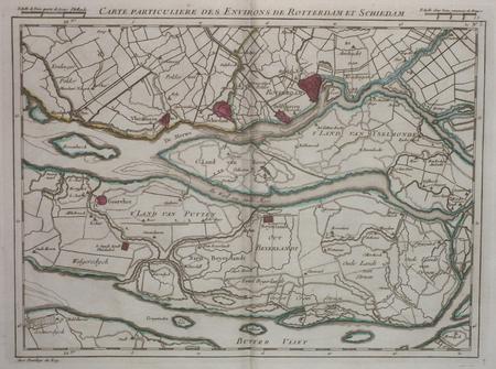 [PAYS-BAS/ROTTERDAM] Carte particulière des environs de Rotterdam et Schiedam.. DHEULLAND (Guillaume);
