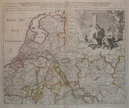 [PAYS-BAS] Le cours de la rivière du Rhein depuis sa source jusques à son emboucheure où sont distingués toutes les estats et souverainetés.. SANSON ...