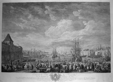 [MARSEILLE] L'intérieur du port de Marseille vû du pavillon de l'horloge du parc.. VERNET (Joseph);