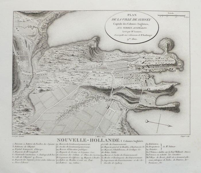 Plan de la ville de Sydney capitale des colonies angloises, aux Terres Australes.. FREYCINET (Louis de).