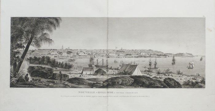 Nouvelle-Hollande : Nouvelle Galles du Sud. Vue de la partie méridionale de la ville de Sydney capitale des colonies anglaises aux Terres Australes, ...