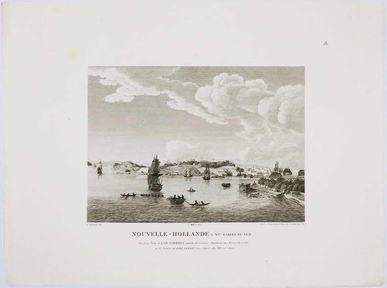 [SYDNEY] Nouvelle-Hollande : Nelle Galles du Sud. Vue d'une partie de la ville de Sydney capitale des colonies anglaises aux Terres Australes, et de ...