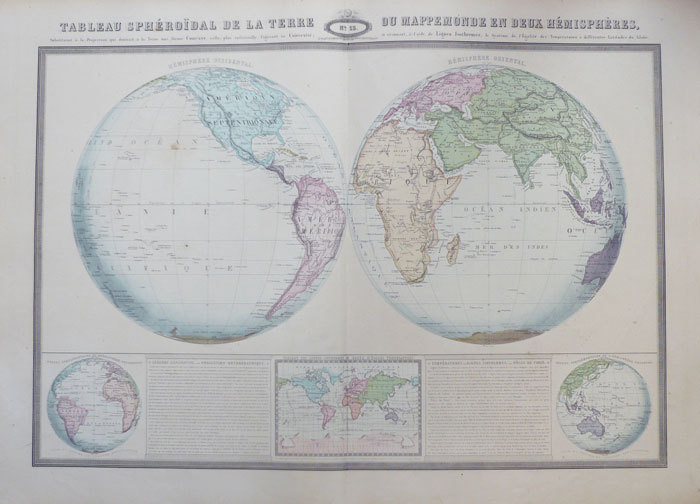 Tableau sphéroïdal de la Terre ou mappemonde en deux hémisphères.. GARNIER (F.A.);