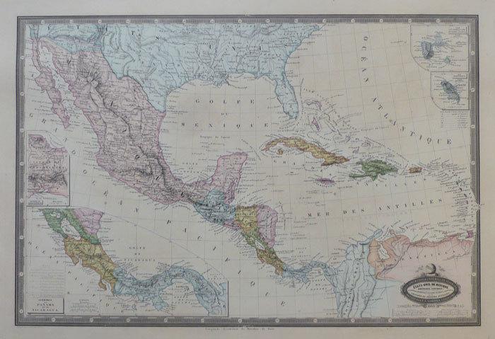 Etats-Unis du Mexique. Amérique centrale, Guatémala, Honduras, St. Salvador, Nicaragua, Costa-Rica, et les grandes et petites Antilles.. GARNIER ...