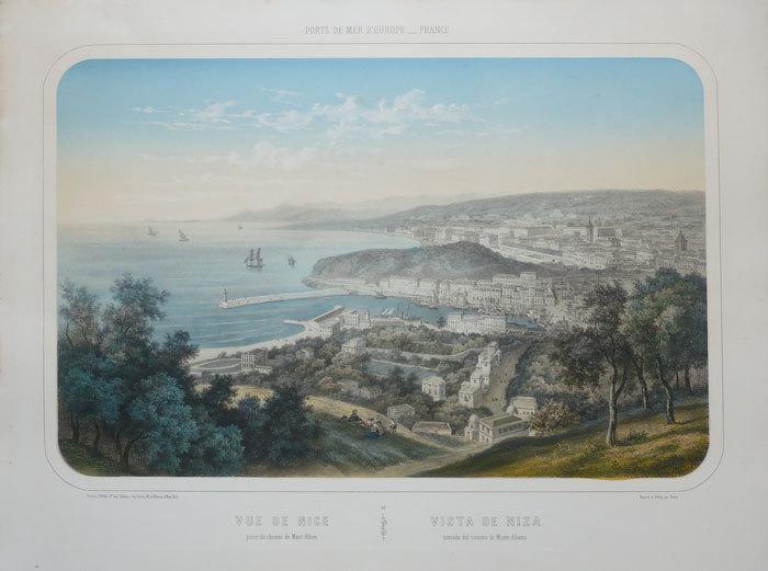 Vue de Nice prise du chemin de Mont-Alban - Vista de Niza tomada del camino de Monte-Albano.. DEROY (Isidore);