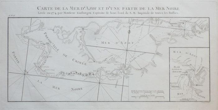 Carte de la mer d'Azof et d'une partie de la mer Noire levée en 1774 par Monsieur Kinsbergen capitaine de haut-bord de S.M. Impériale de toutes les ...