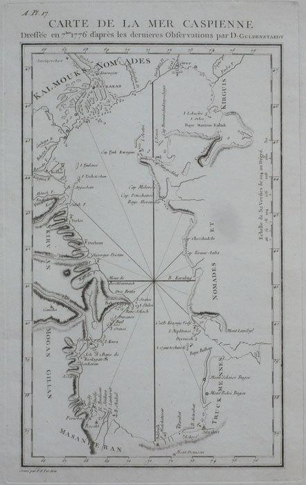 Carte de la mer Caspienne dressée en 7bre 1776 d'après les dernières observations par D. Guldenstaedt.. TARDIEU (Pierre François);