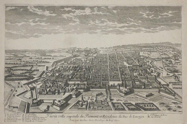 Turin ville capitale du Piémont, et résidence du duc de Savoye.. AVELINE (Pierre);