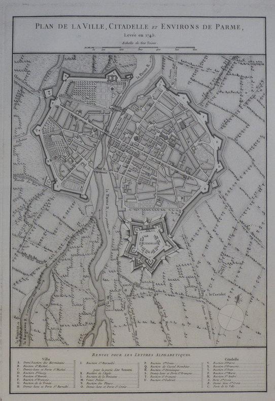[PARME] Plan de la ville, citadelle et environs de Parme, levée en 1745.. ANONYME;