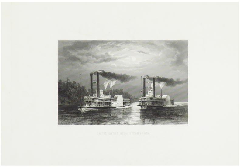 Lutte entre deux steamboats.. WILLMANN (Edward).