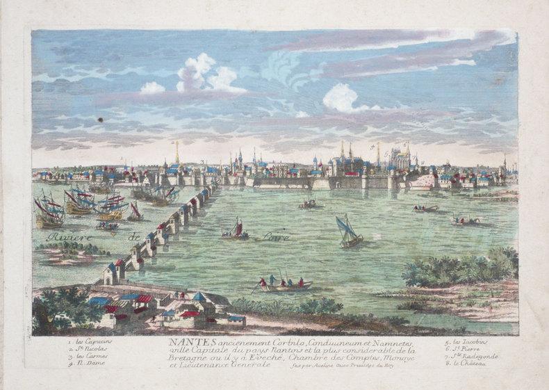 Nantes ancienement Corbilo, Condivineum et Namnetes, ville capitale du pays nantois et la plus considérable de la Bretagne ou il y a Eveché, Chambre ...