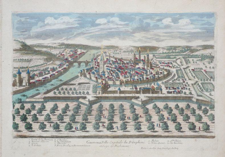 Grenoble, ville capitale de Dauphiné et siège de parlement.. AVELINE (Pierre);