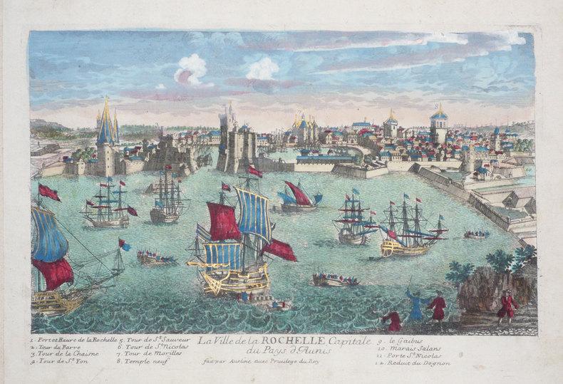 La ville de La Rochelle, capitale du pays d'Aunis.. AVELINE (Pierre);