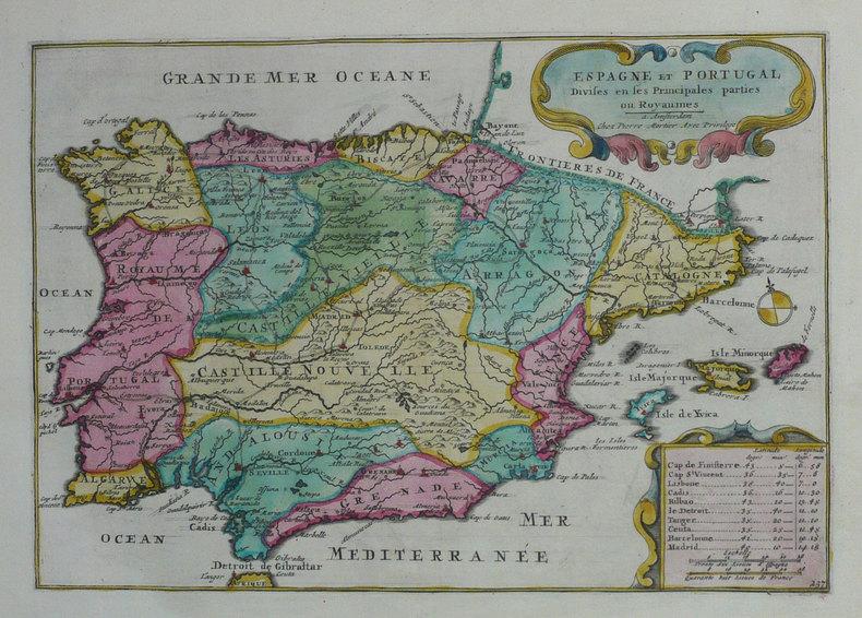 Espagne et Portugal divisés en ses principales parties ou royaumes.. FER (Nicolas de);