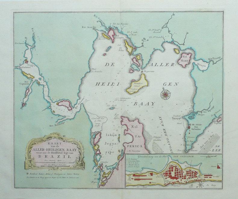 [BRESIL] Kaart van de aller-heiligen baay waar aan de Hoofdstad legt van Brazil.. TIRION (Isaak);
