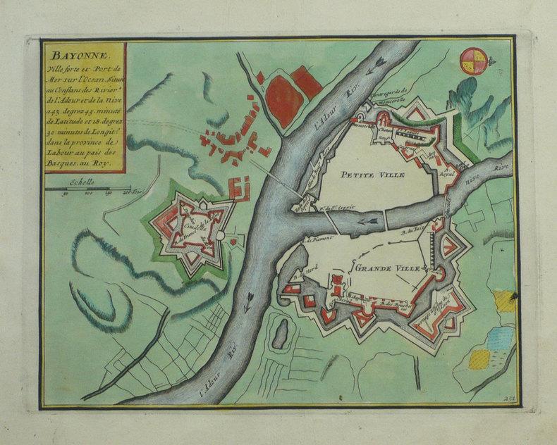Bayonne ville forte et port de mer sur l'Océan, située aux conflans des rivières de l'Adour et de la Nive.. FER (Nicolas de);