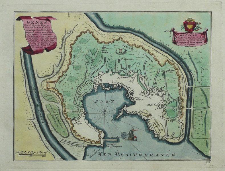 Gênes, ditte la superbe, fameux port sur la mer Méditerranée.. FER (Nicolas de);